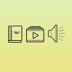 Livros, vídeos, áudios